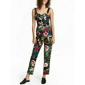 H&M Black Floral Jumpsuit Size 2